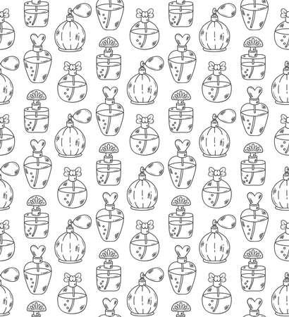 Parfume bottle line doodle seamless vector pattern