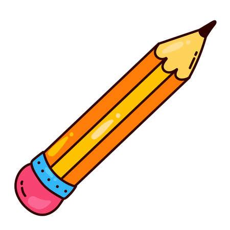 Pencil tool cute colorful cartoon vector icon