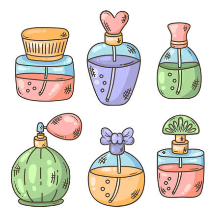 Parfum bootles doodle icons colorful vector set