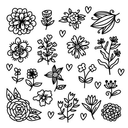Flowers doodle cute floral elements vecor set 일러스트