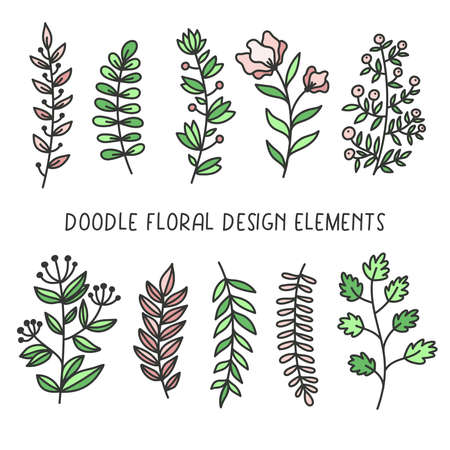 Doodle decorative floral elements boho vector set