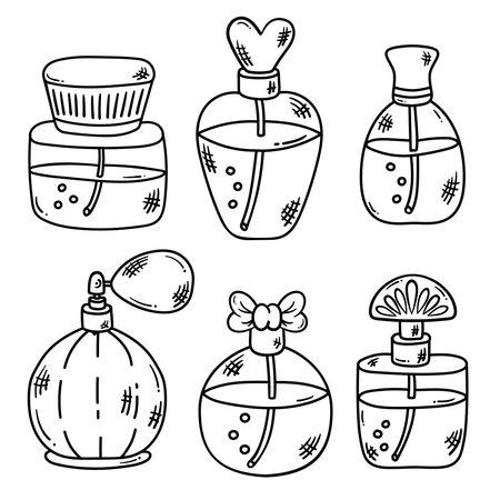 Parfum bootles doodle icons line vector set