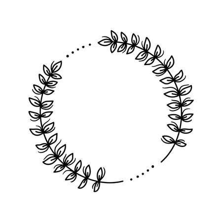 Floral frame decorative round wreath line vector 일러스트