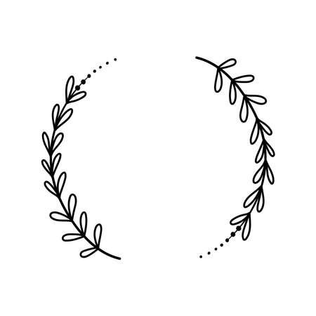 Simple floral frame decorative wreath line vector
