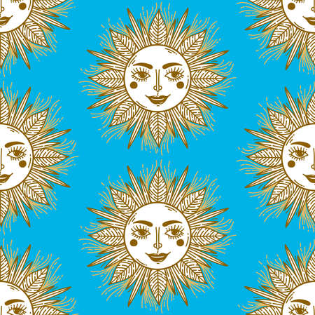 Sun doodle boho astrology seamless vector pattern