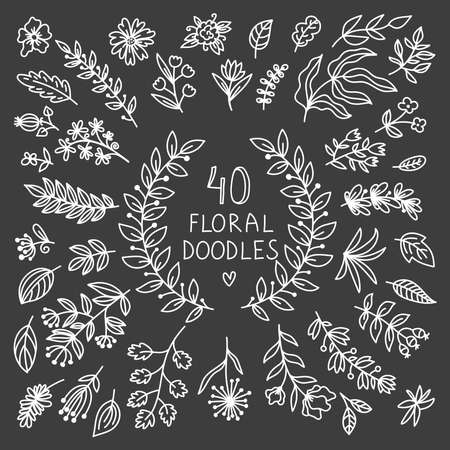 Big floral design elements doodle vecor set