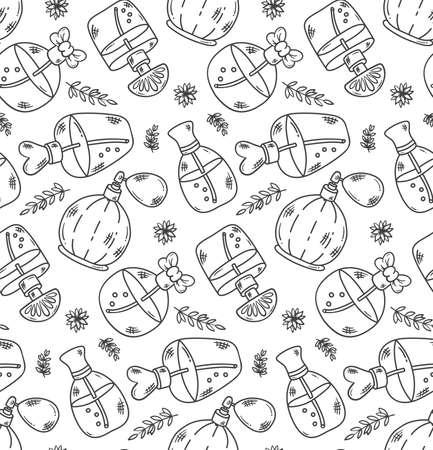 parfum bottles doodle line seamless vector pattern
