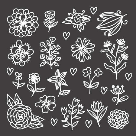 Botanical flower doodle design elements vector set