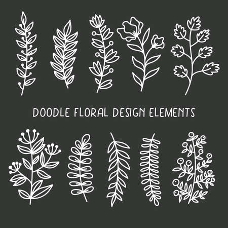 Doodle floral design elements boho vector set 일러스트