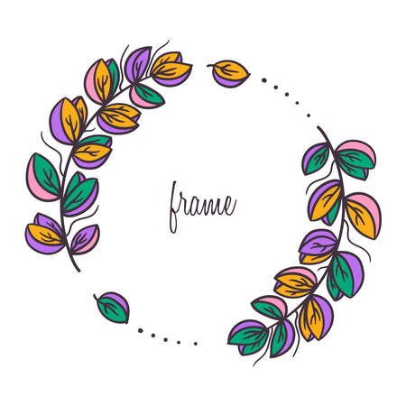 Floral frame decorative wreath doodle line vector