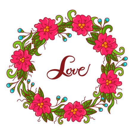 Decorative flower floral wreath cute vector frame