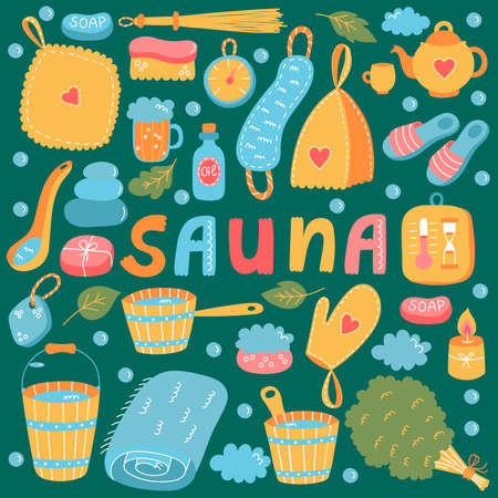 Sauna russian banya colorful vector icons set 일러스트