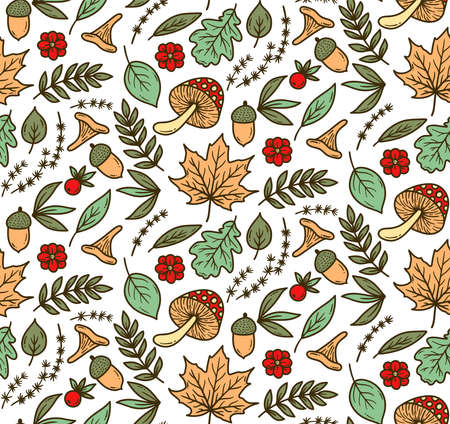 Fall line forest colorful seamless vector pattern