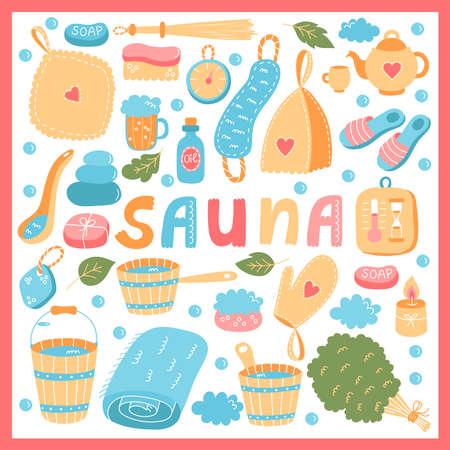 Sauna banya cute colorful vector icons set
