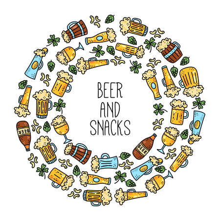 Beer drink doodle colorful icons vector set