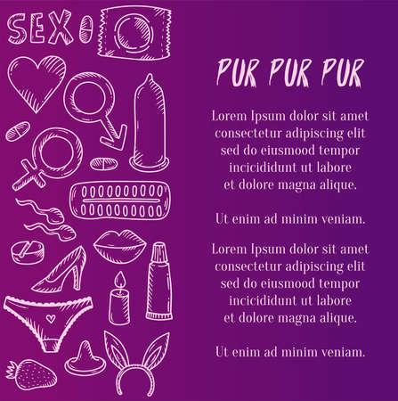 Sex intimate romance icons doodle vector set 일러스트