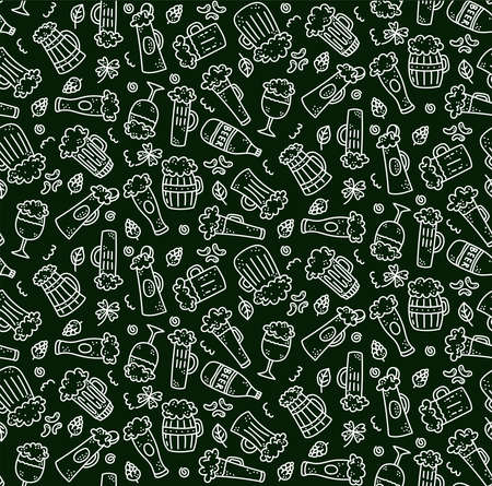 Beer drinks doodle icons seamless vector pattern