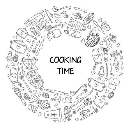 Food cooking kitchen doodle line icons vector set