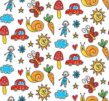 Child like cute drawings seamless vector pattern 일러스트