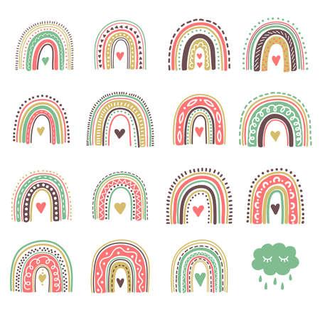Boho rainbow icons colorful cute vector set
