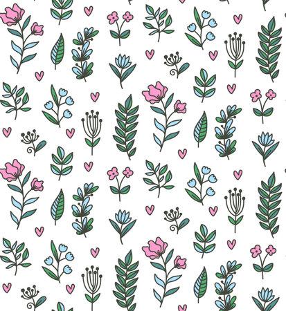 Floral flower doodle line seamless vector pattern