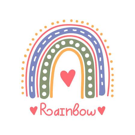Boho rainbow cute simple naive vector icon 일러스트