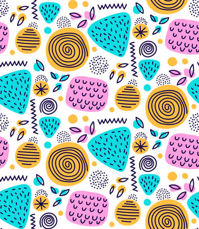Abstract doodle free art seamless vector pattern