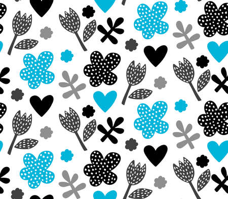 Simple flower cute flat seamless vector pattern 일러스트