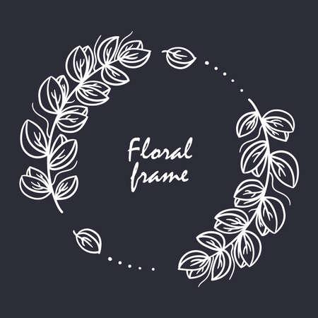 Floral frame decorative wreath doodle line vector