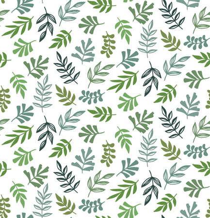 Floral green leafs botany seamless vector pattern 일러스트
