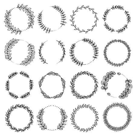 Decorative floral round frames black vector set