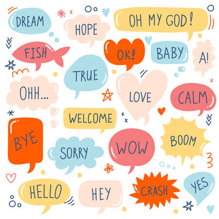 Quote bubbles colorful cute vector icons set 일러스트
