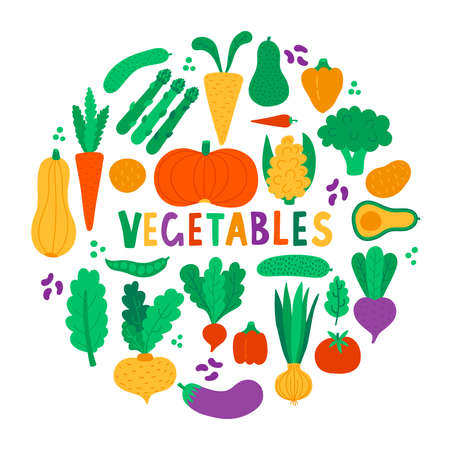 Vegetables food cute colorful icons vector set 일러스트