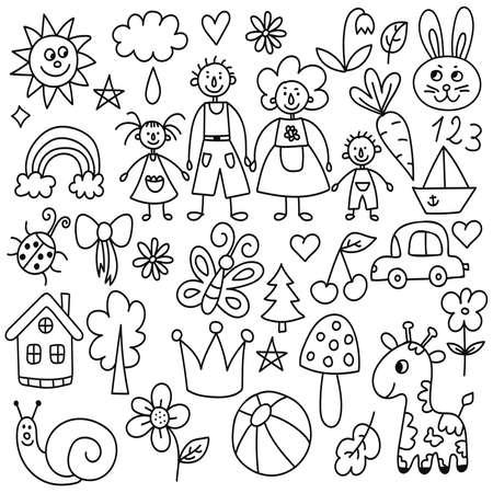 Childlike simple naive drawings icons vector set 일러스트