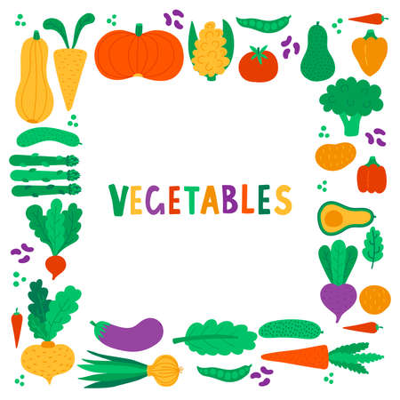 Vegetables food cute colorful icons vector frame