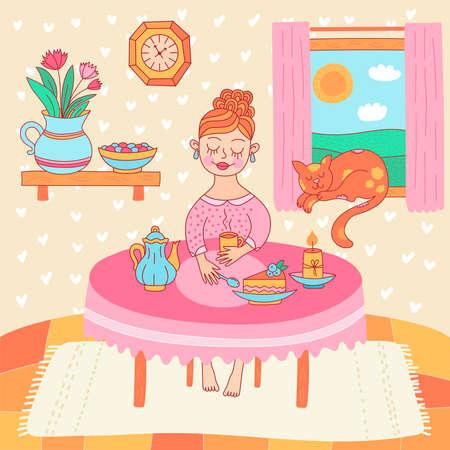 tea time home girl cute vector illustration