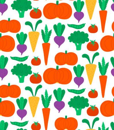 Vegetable food flat cute seamless vector pattern
