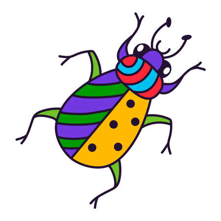 Bug insect colorful cartoon cute vector icon