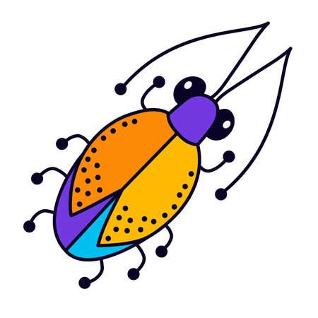 Bug beetle colorful cartoon cute vector icon