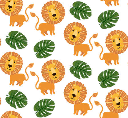 Lion and jungle leaf seamless vector pattern