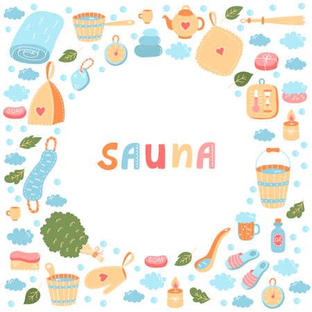 Sauna russian banya colorful vector icons set 일러스트