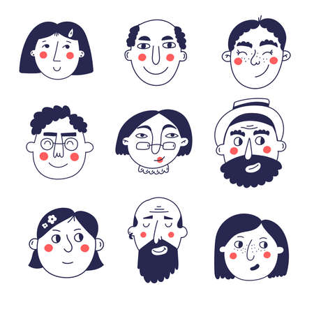 Cute people charcters faces portraits vector set