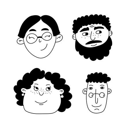 Cute people characters faces portraits vector set