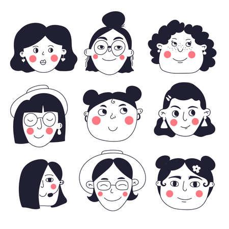 Cute female characters faces portraits vector set