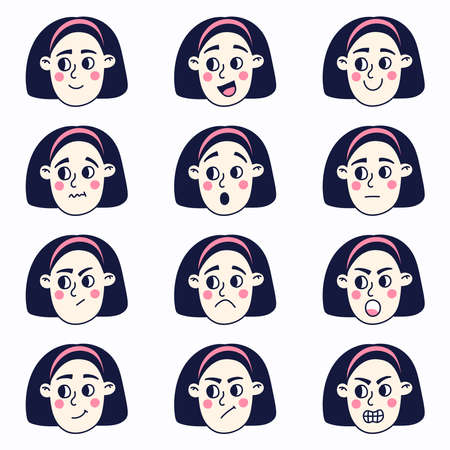 Girl face with different emotions vector set