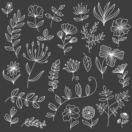 Big floral design elements doodle line vector set