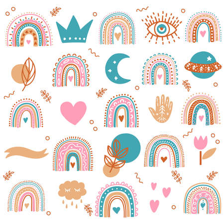 Boho bohemian magic icons cute colorful vector set