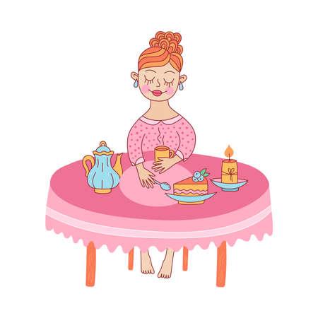 Tea time home girl lady cute vector illustration