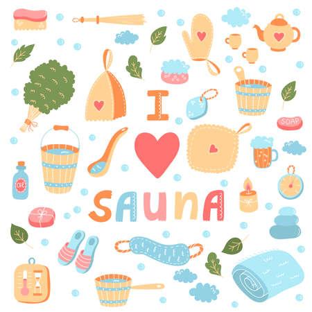 Sauna banya relax colorful icons vector set