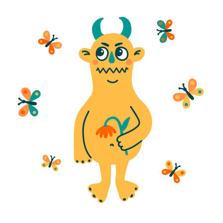 Cute childish yellow monster flat vector icon